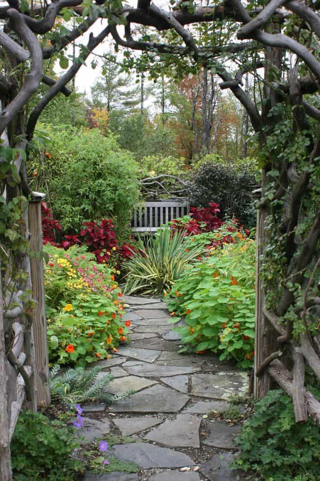 Geranium garden landscape traditional with a rustic arbor