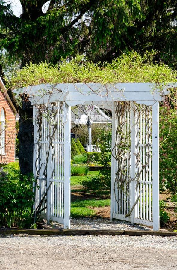 White Wooden Garden Arbor