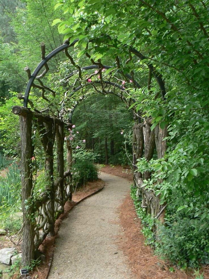 traditional garden arbor in an Atlanta garden