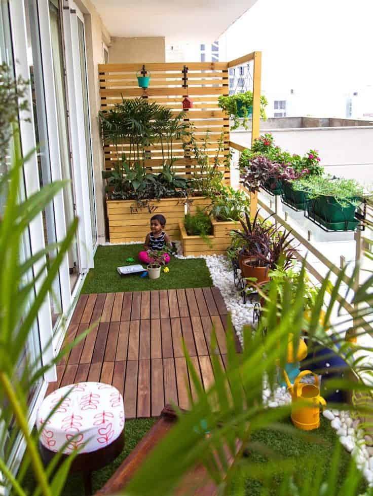 Small balcony garden with playfull area