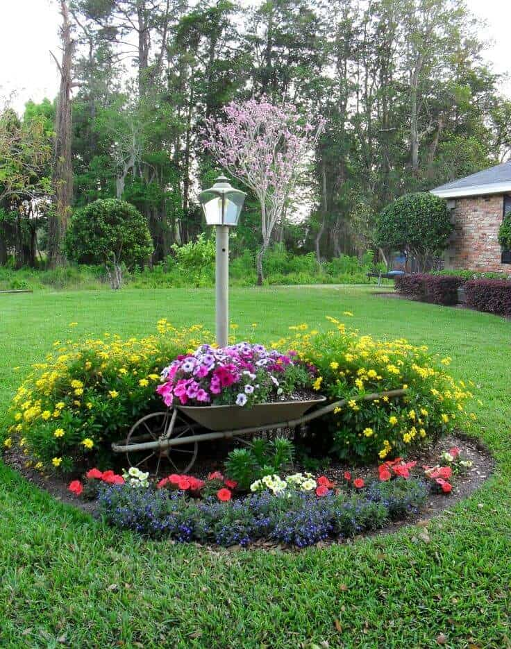 Flower Bed With Wheelbarrow Planter Morflora